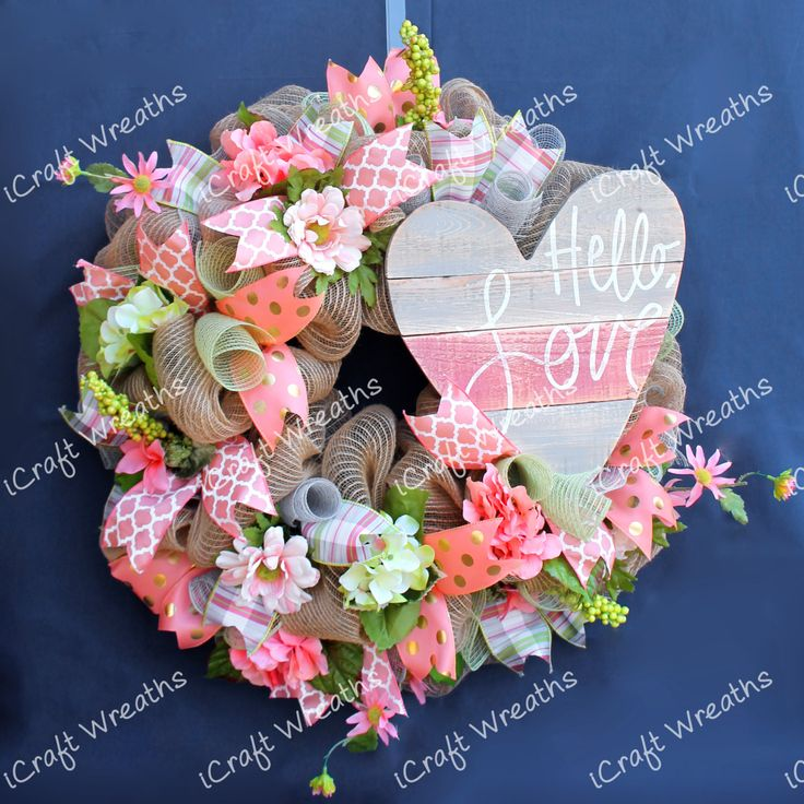 Peachy Mesh Wreath, Mesh Wreath, Summer Mesh Wreath, Spring Mesh Wreath, Summer Door Wreath, Mesh Wreath, Heart Wreath, Peach Flower Wreath by iCraftWreaths on Etsy