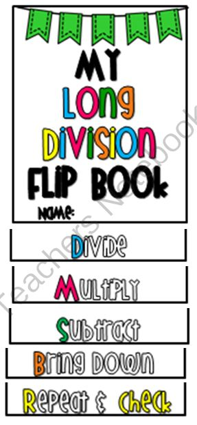 Long Division Flip Book [a step-by-step guide] from O-H So Blessed on TeachersNotebook.com -  (8 pages)  - flip book to teach basic steps of long division