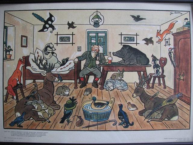 Animals Hibernating in the Gamekeeper's Cottage (1941), Josef Lada
