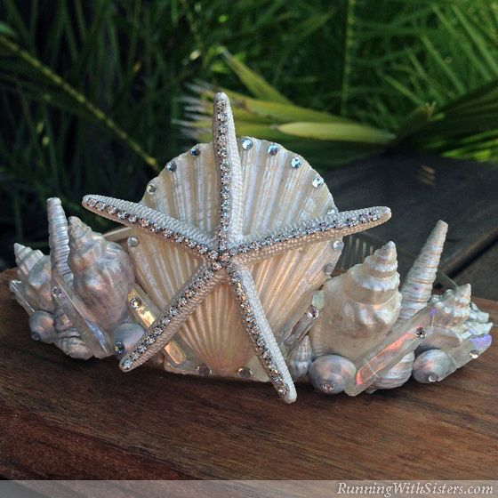 Make your own seashell mermaid crown! Start with an inexpensive tiara and use it as a canvas for scallop shells, starfishes, and conchs. Finish with gems!
