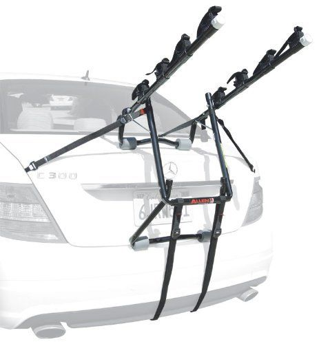 Allen Deluxe 4-Bike Trunk Mount Rack by Allen Bike Racks. $99.97. Amazon.com                Designed to fit most sedans, hatchbacks, minivans and SUV's, the Allen 104D Deluxe 4-Bike Trunk Mount Rack offers an easy-to-use and versatile option for transporting bicycles while on the road. It features a patented tie-down system, which individually secures and protects each bicycle. Its 22-inch long carry arms can accommodate up to four bicycles and can be released with a single pop...