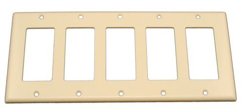 Leviton 80423-T 5-Gang Decora/GFCI Device Decora Wallplate, Standard Size, Thermoset, Device Mount, Light Almond Color: Light Almond Size: 5-Gang, Model: 80423-T. Sleek contemporary Decora brand styling. Accent any wall covering with a wide selection of colors and finishes. Smooth face and rounded edges resist dust accumulation. Resistant to fading, discoloration, grease, oil, organic solvents and moisture scratches. Designed for high dielectric strength and arc resistance.