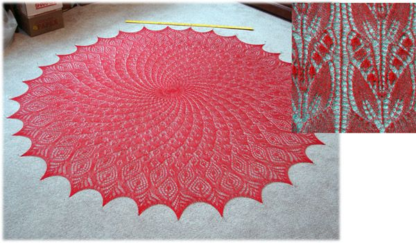 Using Louet Cottlin 22/2 in red - LOU-C3003 Stole pattern, called Raspberry Delight and  available for free on Ravelry.com The designer is Dagmara.  It took one spool of yarn and US size 6 needles.  The round shawl pattern is Queen Anne's Lace also available on Ravelry for free, the designer is MMario .  It took two spools of yarn and double points US size 2,3 and 5 and circulars US size 6.  By Kirby S.