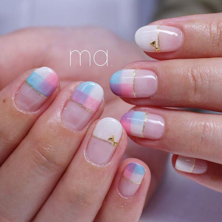 紫陽花カラー💗💙💜 . nail nails nailart gelnails naildesign