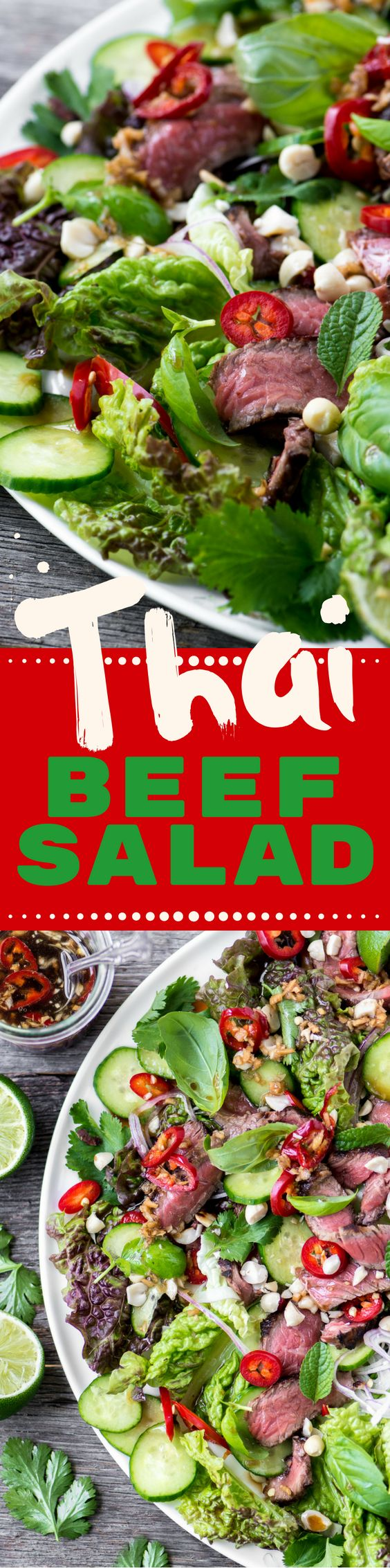 Thai Beef Salad ~ a healthy main course salad with explosive flavor!