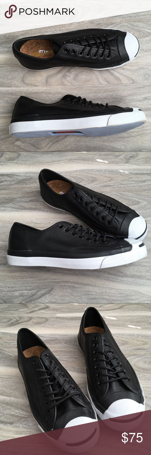 Converse Jack Purcell black ox leather 9 like new Converse Jack Purcell Jack Ox Leather Athletic Shoes 9 like new. The right side was on display so it has debris. Please inspect pics carefully. Tumbled leather upper EVA sockliner Rubber outsole. Women 9/Men's 7 Converse Shoes Sneakers