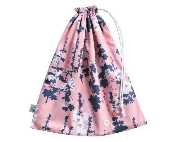 Floral navy and pink wet dry bag. Swim Bag or Beach Bag. LittleAlligatorStore on Etsy
