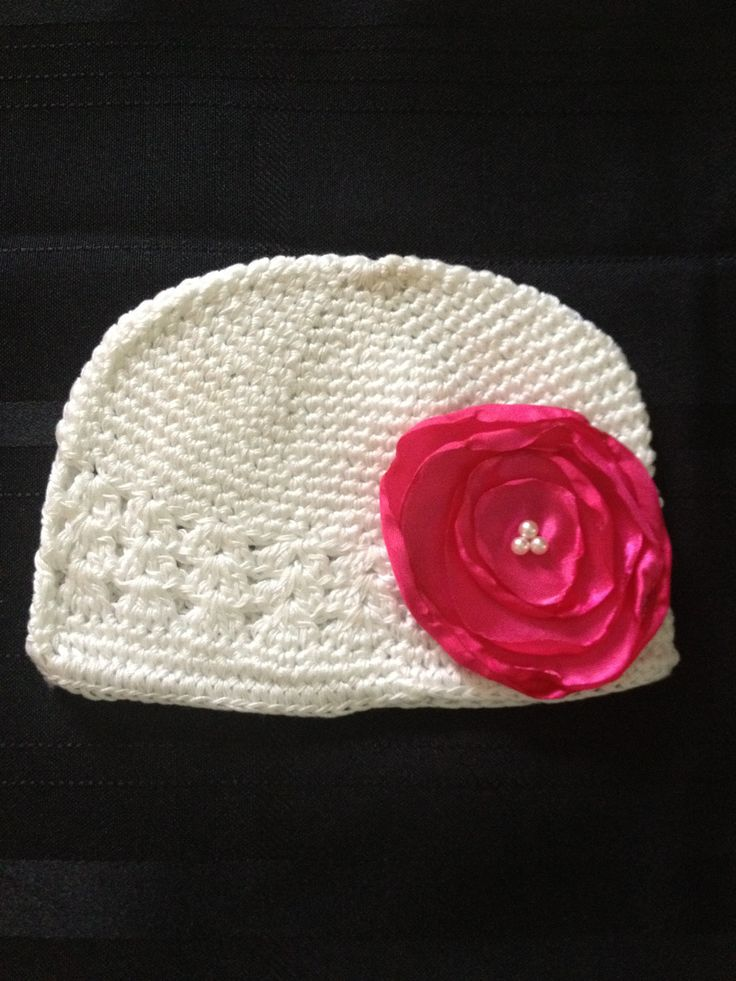 Baby Hat - Baby Beanie  - Infant/Newborn/Baby - Crocheted - White with Pink Flower - READY TO SHIP. $10.00, via Etsy.: Pink Flowers, Baby Beanie, Infants Newborns Baby, Baby Gowns, Hats Baby, Future Baby, Baby Girls, Baby Hats, Gowns Baby