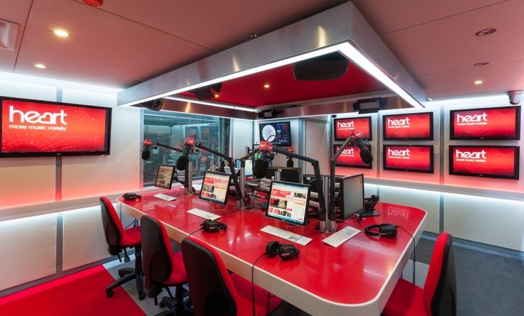 Desking At Heart Radio Station Studio In Hot Red Corian
