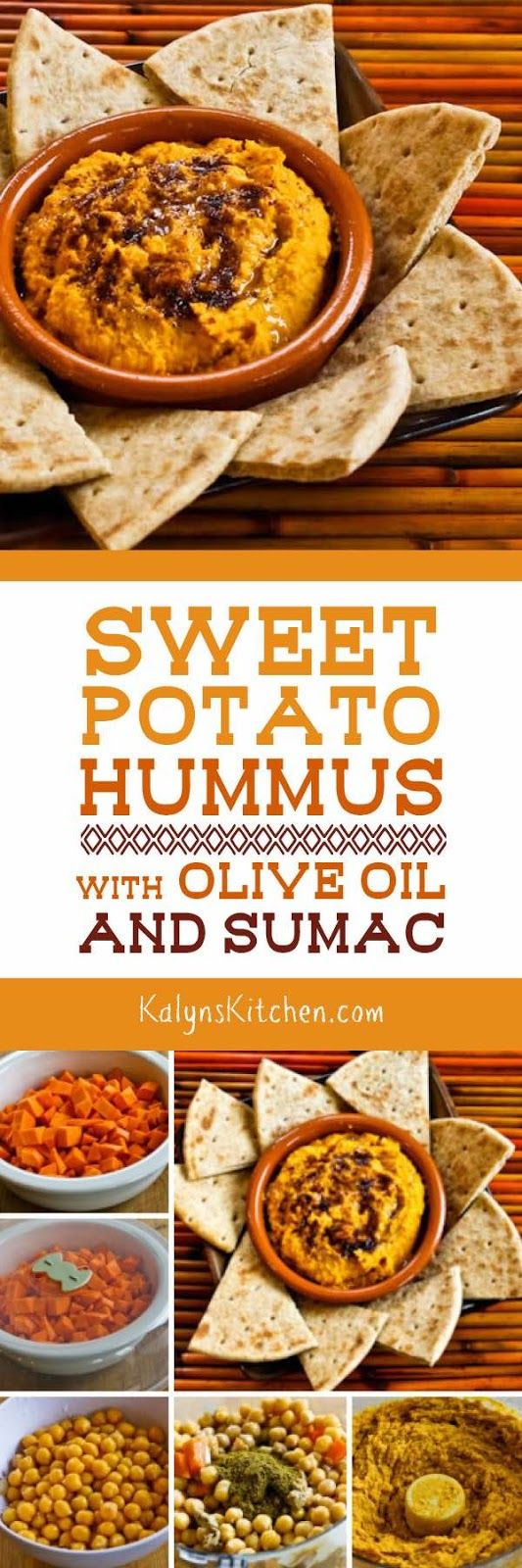 Sweet Potato Hummus with Olive Oil and Sumac is a fun orange-collored ...