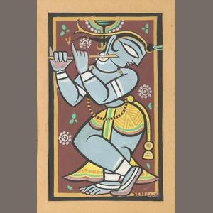 Jamini Roy (1887-1972) Krishna, framed and glazed