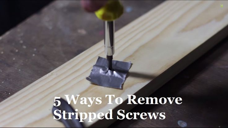 5 Ways to Remove Stripped Screws?ref=pinp nn Being a handyman/woman around the house is something we all can't afford not to do. If it means maintaining out property and retaining the quality of our valuables, why not? However, we've all dealt with our fair share of stubborn stripped screws that simply refuse to budge. All is...