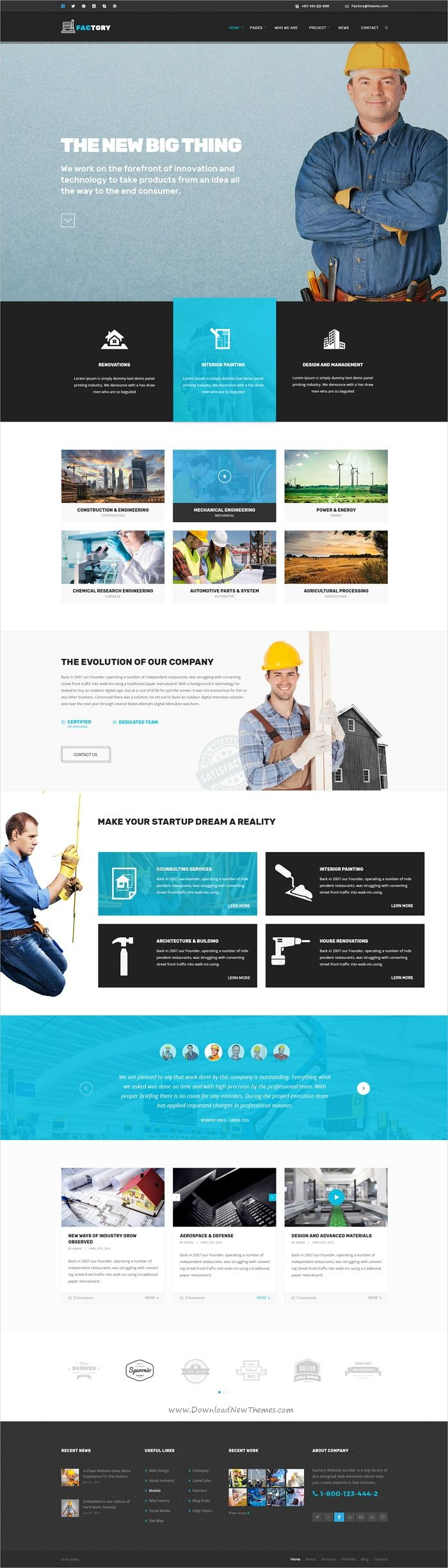 Factory is a modern design #Photoshop template for industrial, #mechanical, engineering, #construction company websites download now➩  https://themeforest.net/item/factory-industrial-business-psd-template/19035871?ref=Datasata