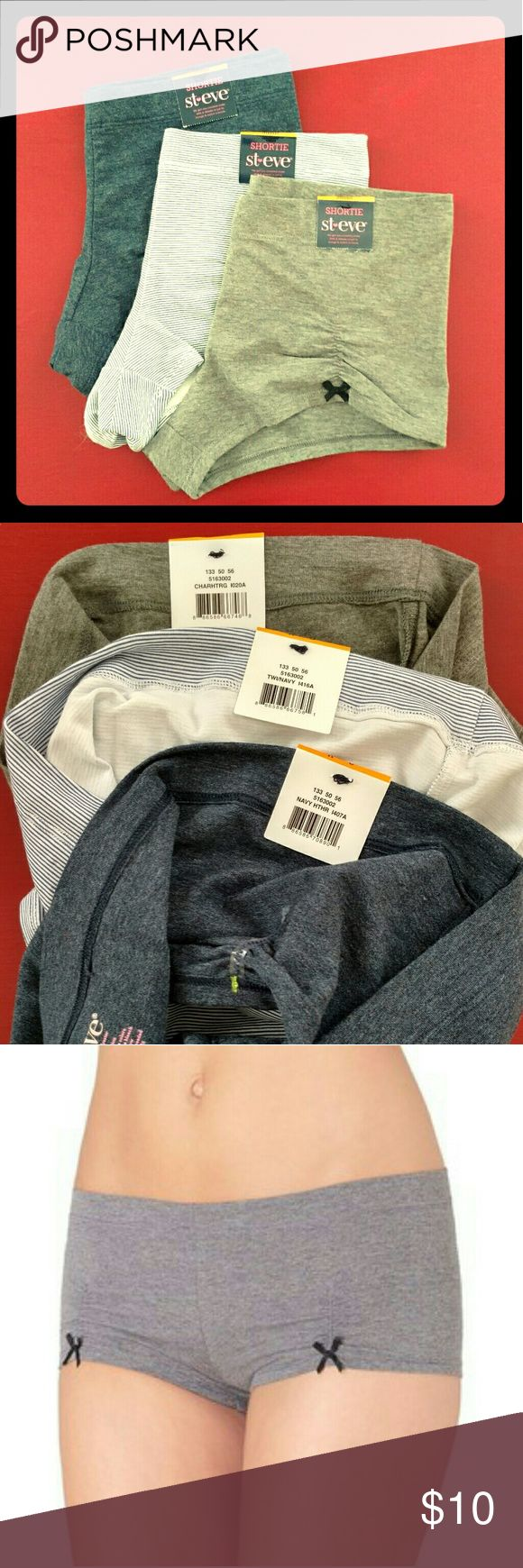 St. Eve Shortie - Boyshorts - set of 3 - NWT NWT St.Eve Shorties - set of three boyshorts. Colors : heathered gray , navy/white striped , heathered navy. Soft and comfortable! Cute bow accents on hem. Size S. All three are included together. St. Eve Intimates & Sleepwear Panties