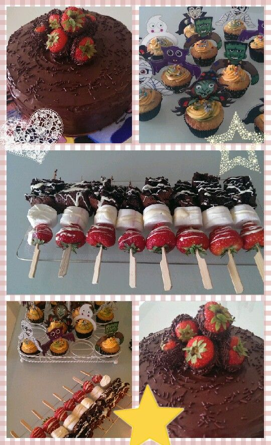Birthday sweets. Sachertorte, strawberry-brownie bites and halloween white-chocolate cupcakes!
