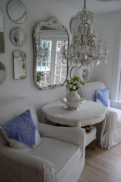 Shiny!  Mirrors and chandelier (Ticking and Toile: ~oh, are you in for a treat~)