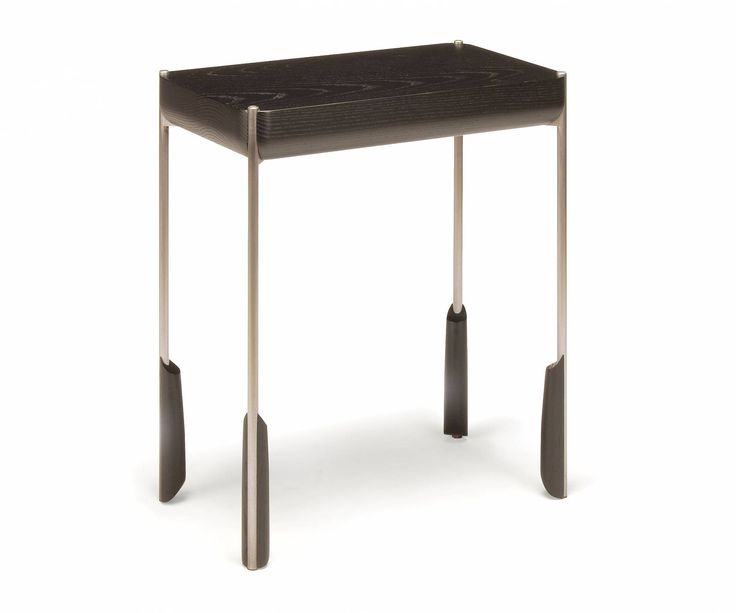 altai side table-----A02, front/side view, in ebonized ash with natural metalwork #modern #table #Skram #madeinAmerica