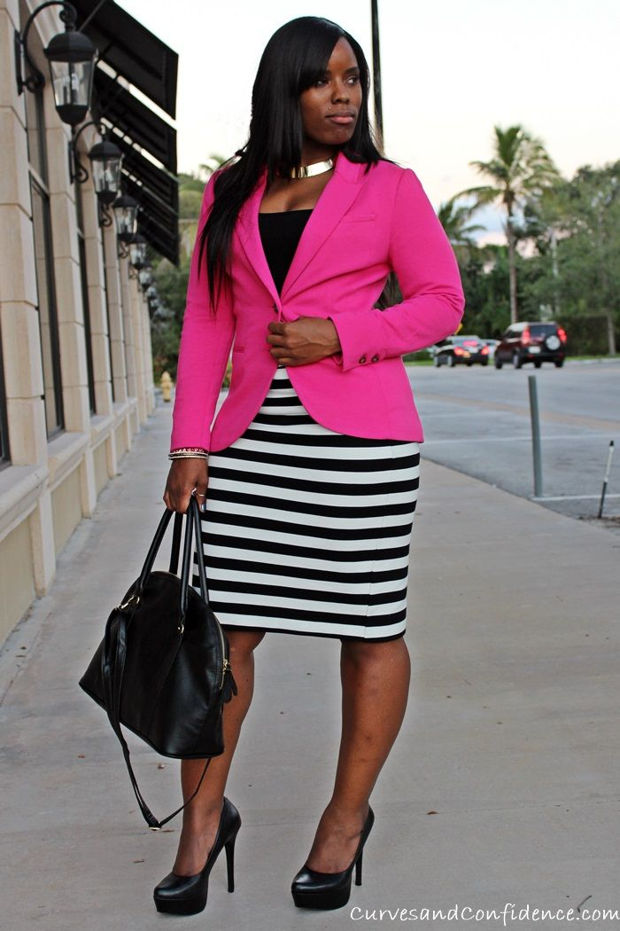 5 Ways to Wear a Striped Pencil Skirt with Curves & Confidence! | The Fashionista Next Door™