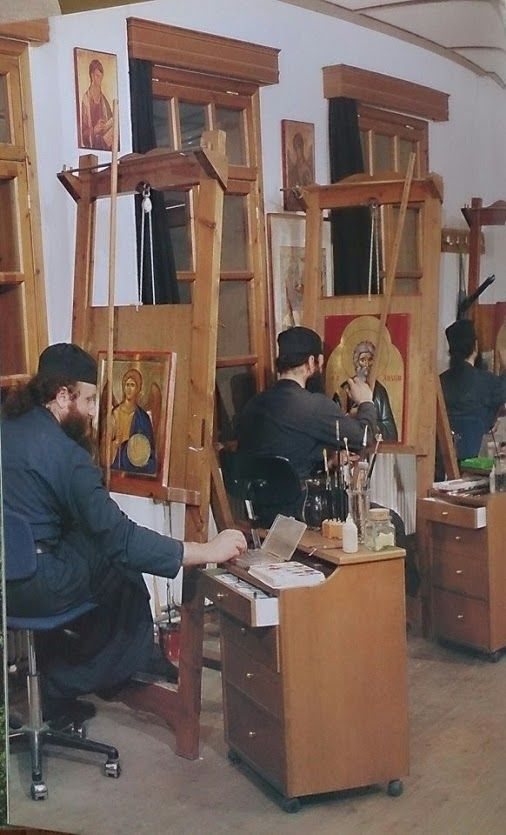 Orthodox Monks writing icons [notice the adaptation at top of easel that allows for balancing the prop-stick]