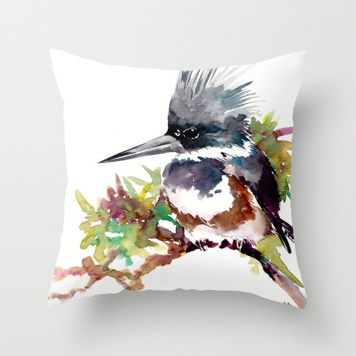 Buy Belted Kingfisher Throw Pillow By Sureart Worldwide Shipping Available At Society6 Com Just One Of Millions Throw Pillows Pillows Designer Throw Pillows