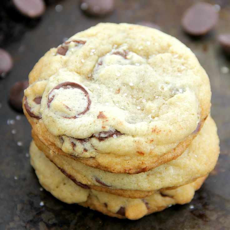 Salted Dark Chocolate Chip Cookies - These cookies are super thick and soft and are packed with chunks of dark chocolate and a touch of sea salt!