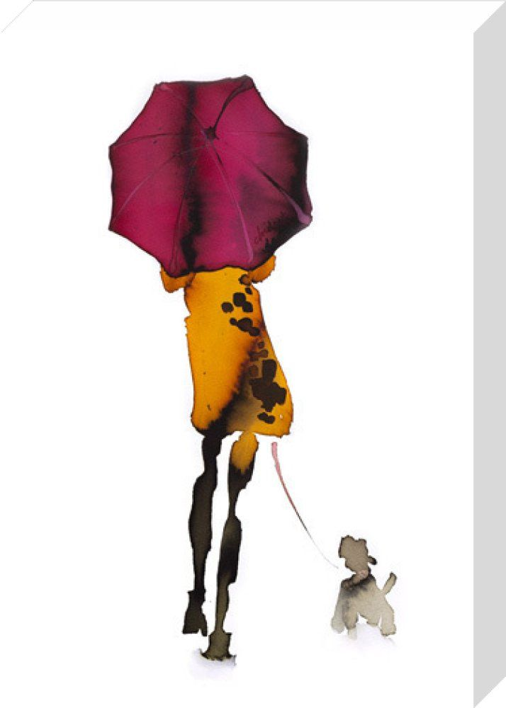What to Wear When Walking the Dogs - Umbrella Art Print by Bridget Davies at King & McGaw