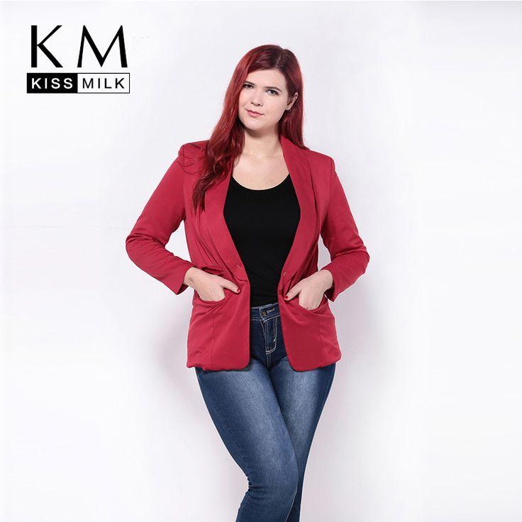 Kissmilk Plus Größe Neue Mode Frauen Rollkragen Tasche Schlank Big Size Casual Kleinen Anzug Mantel 3XL 4XL 5XL 6XL