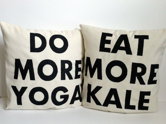 Yoga and Kale Pillows FREE SHIPPING by KatieScarlettCo on Etsy, $43.50