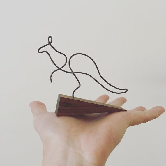 Kangaroo  Wire Illustrated Sculpture by GrainAndWonder on Etsy