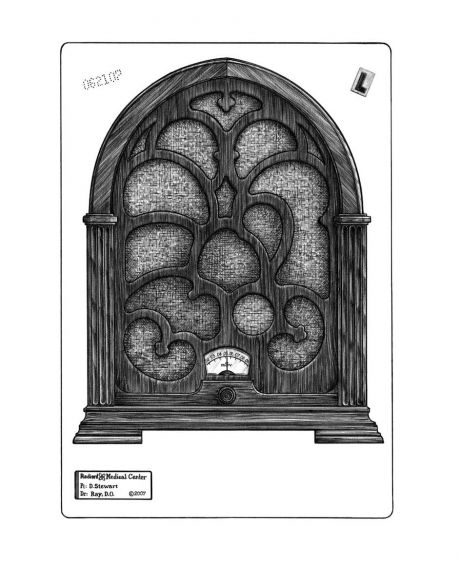 RADIO-LOGY: The lighter side of x-ray vision: A classic Gothic radio console, or an antique chest with shapes lurking in the shadows? Look for the lungs, heart, kidneys, & liver. Also available in a film negative version.