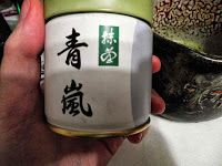 Aoarashi from Ko no en (Marukyu Koymaen), the lowest ceremonial grade they have on their website.  This tin is 40g of delicious matcha. http://tea-journey.blogspot.com