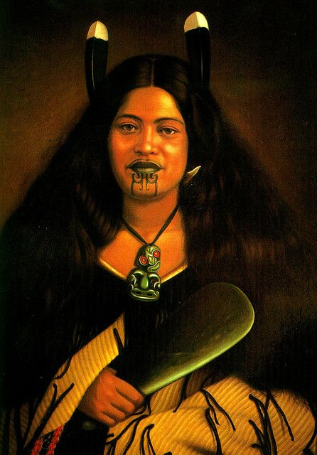 Picture of Maori woman from the 1800's. A Maori high born (warrior class) woman with the Moko or facial tattoos and Tiki jade pedant for protection, and the Pounamo Mere or jade hand-axe, a prized item.
