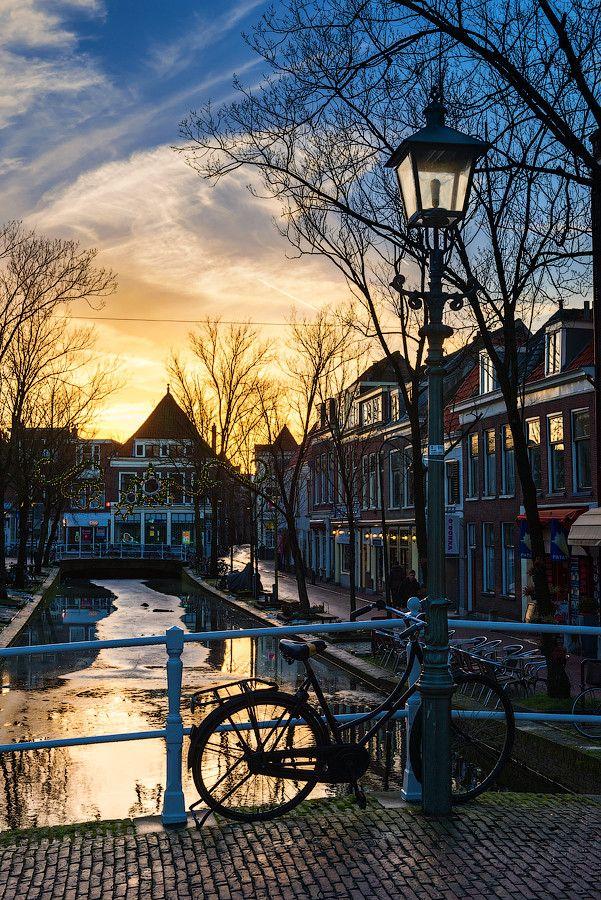winter evening in Delft, Netherlands