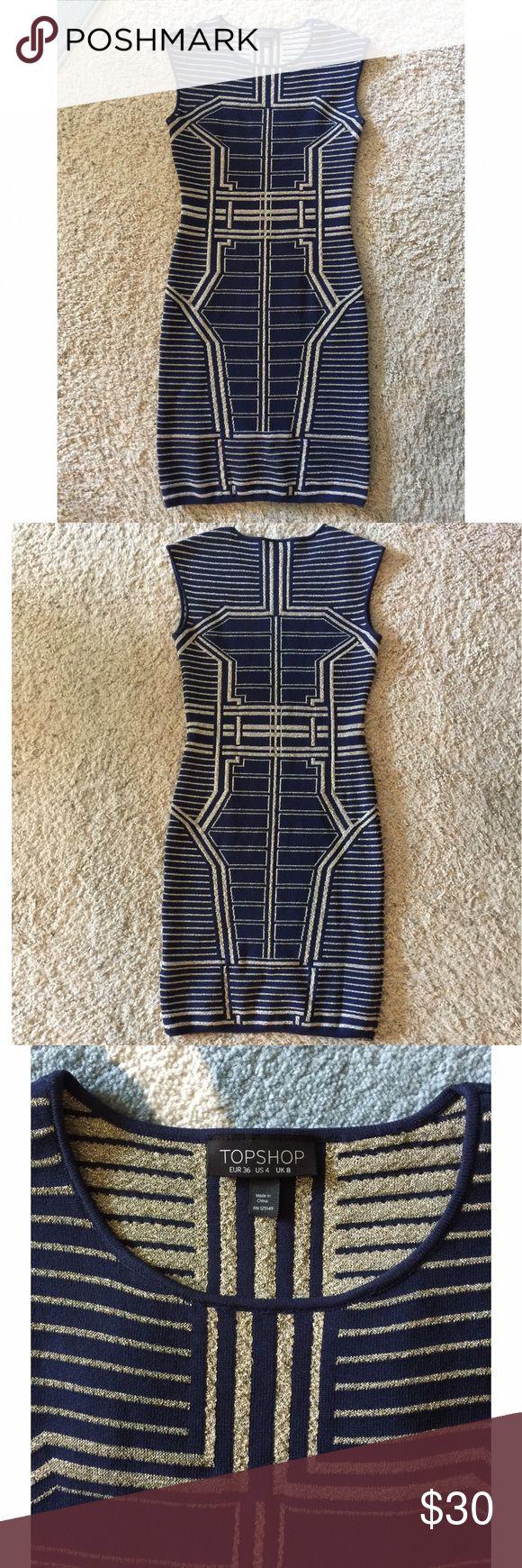 ⭐️BODYCON DRESS⭐️ Navy & metallic gold bodycon dress. Only worn once. Beautiful fitting dress. Topshop Dresses Midi