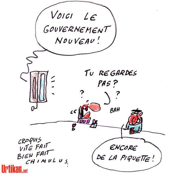Un (nouveau) gouvernement Valls aujourd'hui - Dessin du jour - Urtikan.net