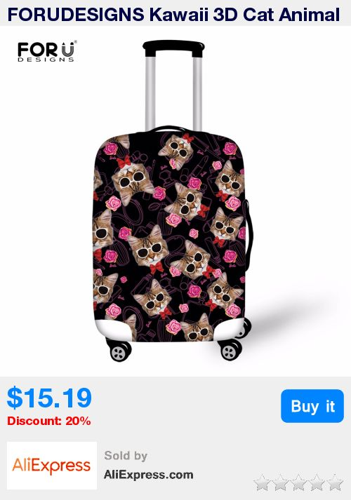 FORUDESIGNS Kawaii 3D Cat Animal Luggage Protective Rain Covers Elastic Thicken Women Suitcase Cover For 18-30 Inch Trolley Case * Pub Date: 21:19 Sep 20 2017