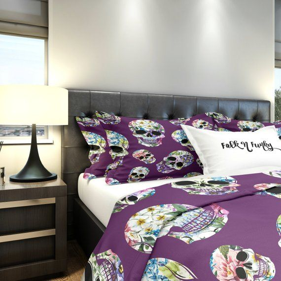 Skull Bedding Comforter Duvet Cover Purple Floral Skull Etsy Skull Bedding Comforters Purple Duvet Cover Bedding And Curtain Sets
