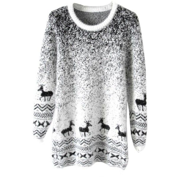 Black Mohair Reindeer Pullover Gradient Ugly Christmas Sweater (£12) ❤ liked on Polyvore featuring tops, sweaters, shirts, christmas, sweatshirts, black, christmas tops, sweater pullover, pullover shirt and shirt sweater