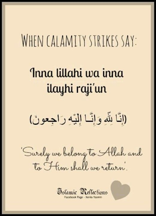"""Qur'an al-Baqarah (The Cow) 2: 156: Who, when disaster strikes them, say, """"Indeed we belong to Allah , and indeed to Him we will return."""""""
