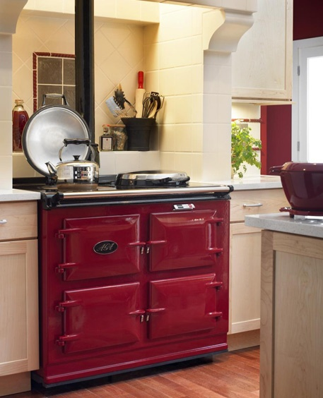 red, four oven Aga cooker