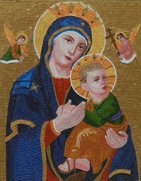 Mother of Perpetual Help - mixed media glass mosaic byzantine icon by Liza Wheeler
