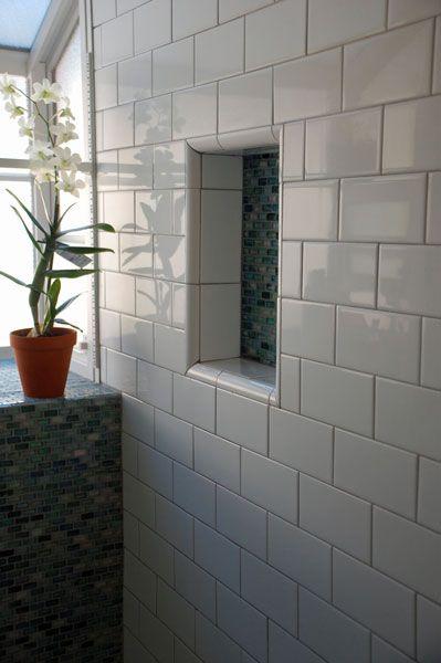 Subway Tile Shower Love The Niche Basement Bathroom Pinterest