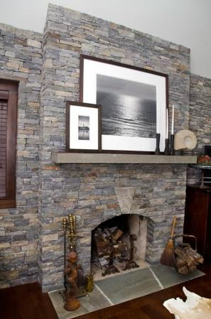 Interior Fireplace Wall Keystone Thin Ledge Stone