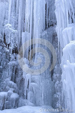 Close up of frozen waterfall.