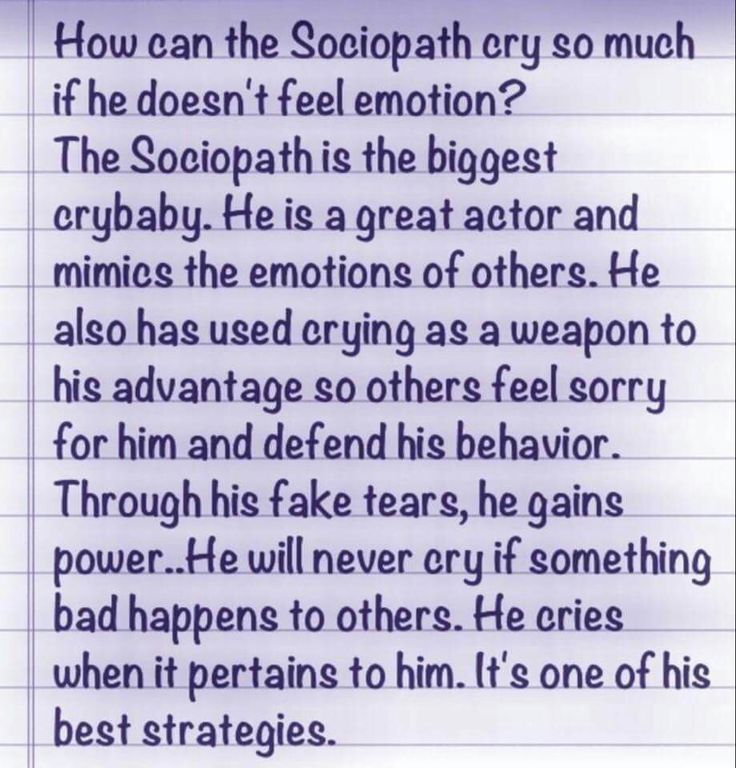 The crying narcissistic sociopath.  A help for narcissistic sociopath relationship survivors