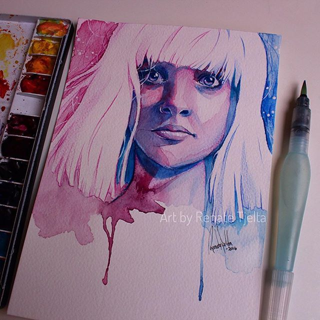 """#mulpix Portrait of Maddie Ziegler, the dancer in Sia's music video of """"Chandelier"""". I'm a huge fan of Sia's work. Her music video's have so much emotion and art in it. And her music, lyrics and voice are amazing<3  #art  #drawing  #artwork  #draw  #paint  #painting  #sia  #chandelier  #maddieziegler"""