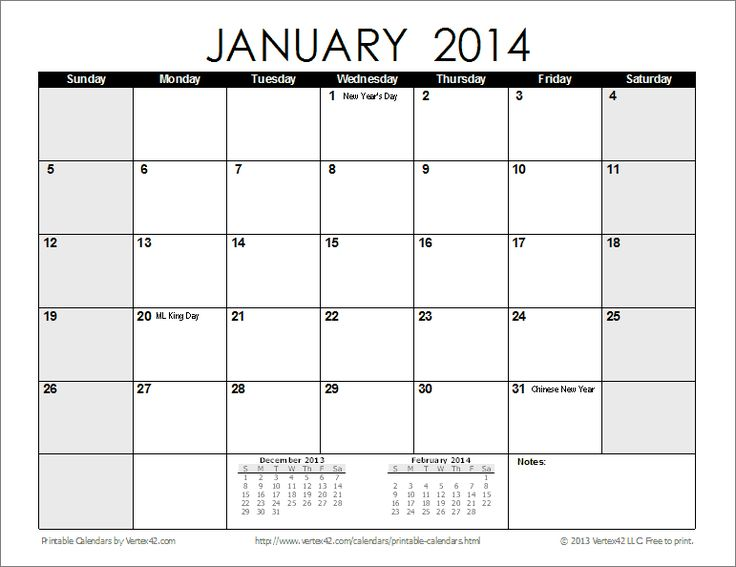 2014 and 2015 monthly calendar printable