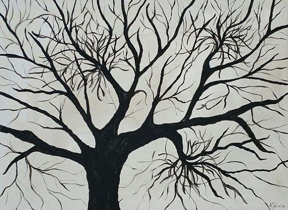 arbre de vie peinture l 39 huile originale peinture en noir et blanc arbre de peinture d 39 art de. Black Bedroom Furniture Sets. Home Design Ideas