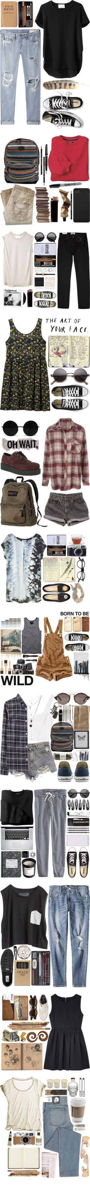 ART COLLEGE STUDENT OUTFITS by hey-there-deliah on Polyvore featuring 3.1 Phillip Lim, rag & bone/JEAN, Victoria's Secret, Wrangler, Aesop, Classique, O'Neill, Sharpie, Incase and INC International Concepts
