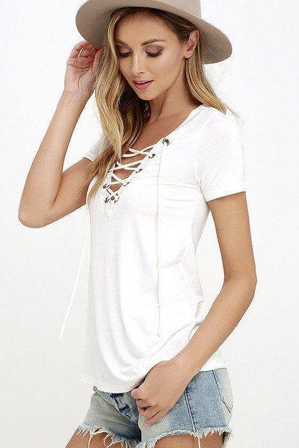 Women Autumn Plus Size Blouse Lace Up Causal Short Sleeve Shirt Women – USMART NY